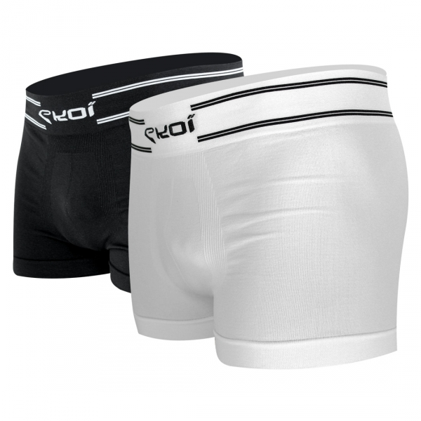 EKOI RUN White / Black 2-pair boxer short pack