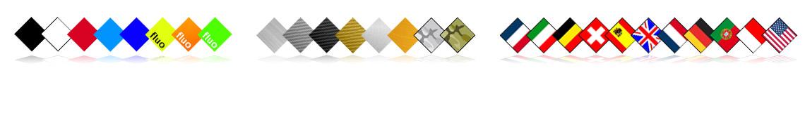 8 couleurs, 6 matières et 11 nations disponibles