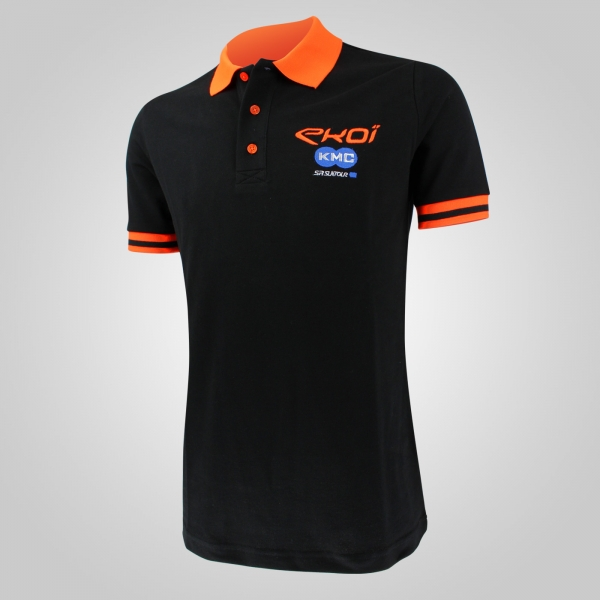Polo Team KMC EKOI SUNTOUR Noir Orange Fluo