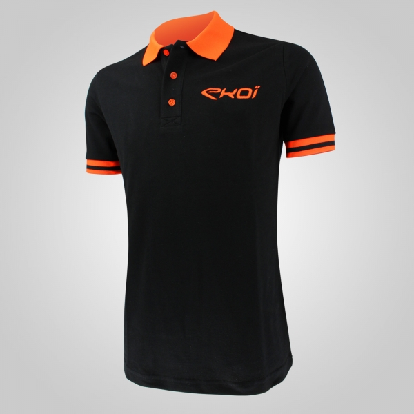 Polo été EKOI Cycling Team Noir Orange fluo