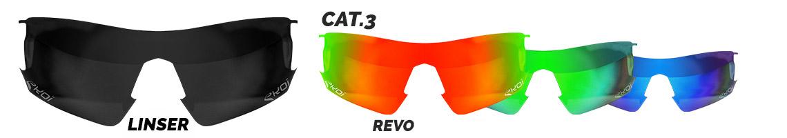 Glasudskiftning for revo briller, kategori 3