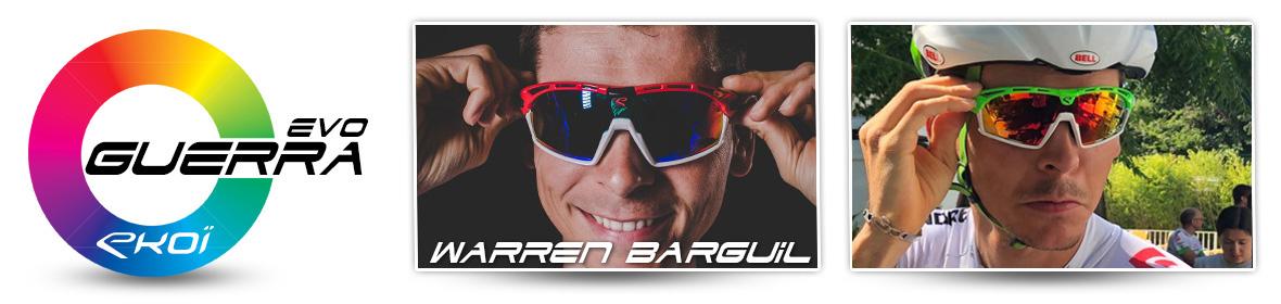 Lunettes vélo EKOI Guerra Evo et Warren Barguil