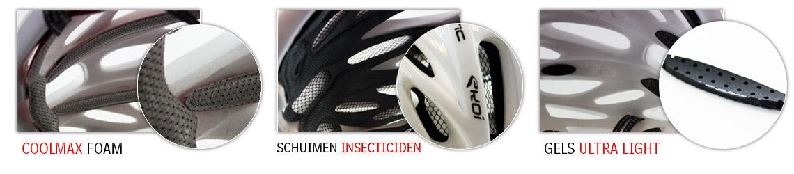 mouuses, gels et filet anti-insectes en option pour le casque vélo route Corsa Light EKOI