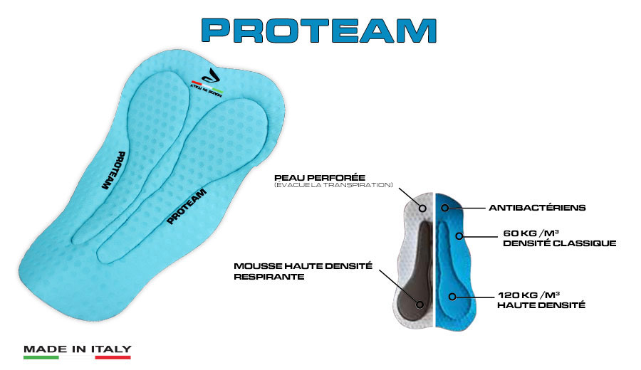 Gepolsterte Radhose Proteam EKOI Comp11 made in Italy